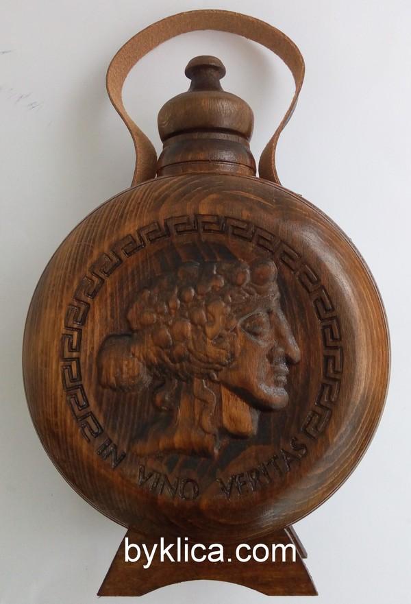 38лв. Бъклица за мъж с дърворезба на бог Дионис