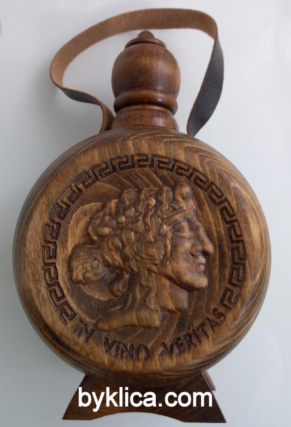 30 лв. Бъклица за вино с дърворезба на бог ДИОНИС