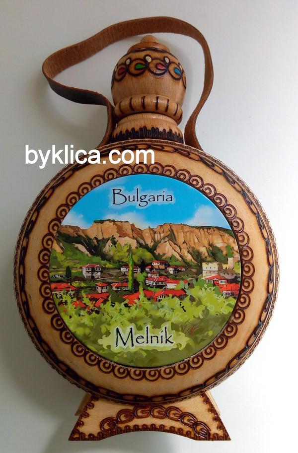 20лв. Дървена бъклица с пирография МЕЛНИК