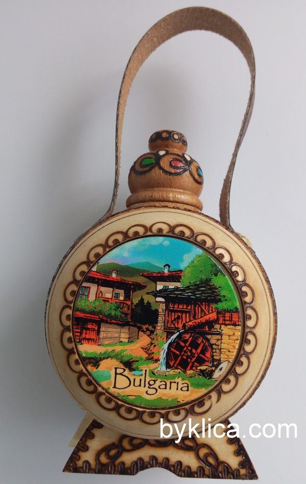 Бъклица сувенир с пирография Спомен от България 50 мл