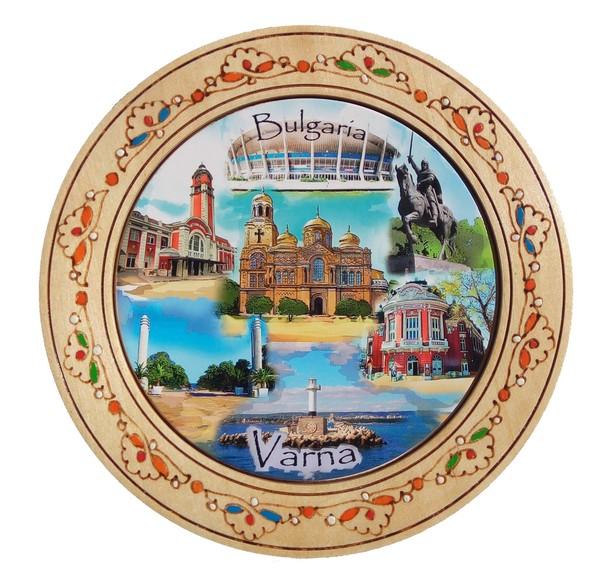 Чиния сувенир с пирография Варна 15 см