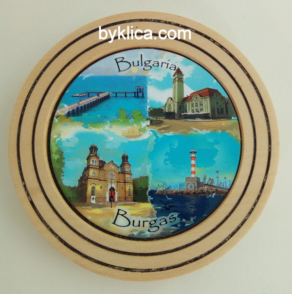 Чиния от дърво сувенир колаж Бургас 10 см